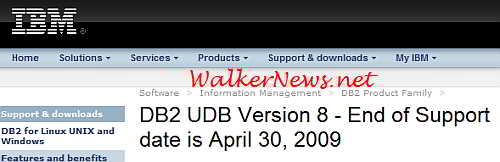 IBM DB2 v8 end of support date.