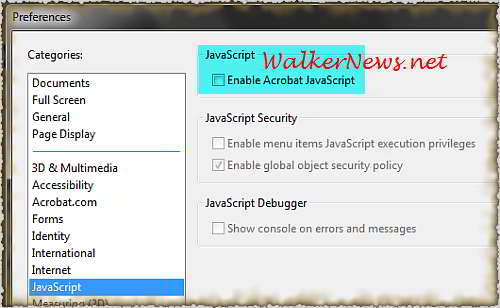 How to disable Adobe Reader JavaScript function?