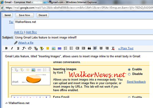 Gmail inline image feature allows user to paste image into email body.