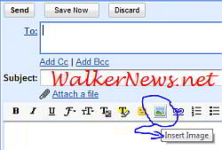 Click the insert image icon to insert or paste image into email body in Gmail