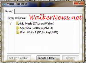 Using Windows Explorer to add music folders to Windows Music library.