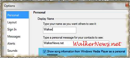 Open Option dialog box to active Windows Live Messenger music plugin