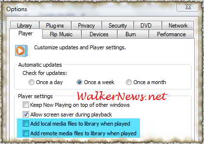 Set Windows Media Player 12 to automatically add playing music files at local or remote computer to Windows 7 music library.