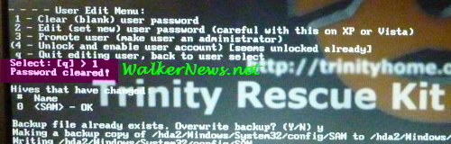 The TRK freeware could reset or recover a forgotten Windows account password.