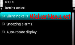Enable Nokia 5800 Accelerometer Sensor to silence call, snooze alarm and auto-rotate screen display.