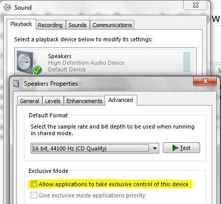 Options to disable program to take exclusive control on sound devices in Windows 7.