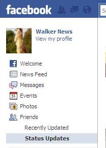 The Status Update filter in new Facebook 2010 interface.