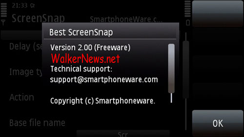 Best Screen Snap v2, the S60v5 screen capture freeware that can make screenshot of display in landscape mode.