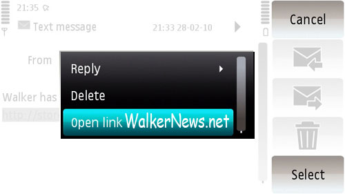 Tap the hyperlink in SMS and select Open Link to open in web browser.