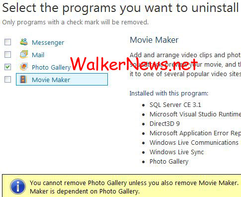 How to clean uninstall Windows Live Photo Gallery in Windows 7?