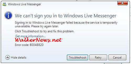 How to fix the Windows Live Messenger error code 80048820?