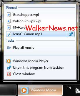 Windows 7 tip: Customize Windows Media Player Jump List with playlist and songs.