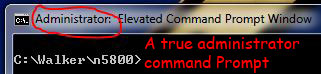 An admin-level Command Prompt in Windows Vista or Windows 7 shows Administrator keyword in the window title explicitly to denote it is running with elevated privilege.