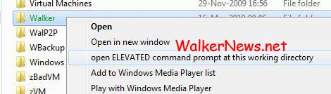 A Windows Registry hack enable right click to open elevated Command Prompt in Windows Vista and Windows 7.