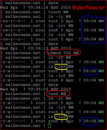 How to use Linux ls command to sort file listing according to time of file created, changed, or accessed?