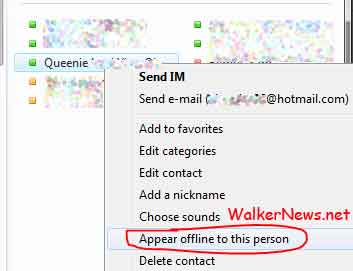 Uses Windows Live Messenger Beta version 2010 if you want to appear offline to some person or selected contacts only