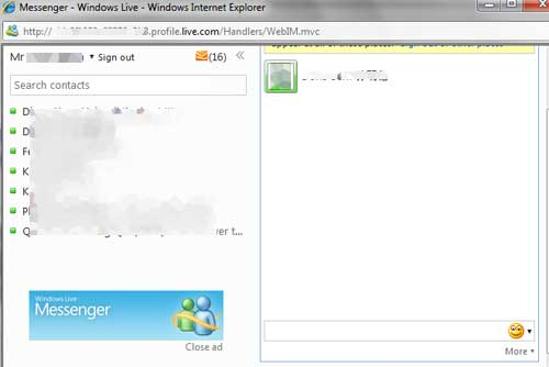 The official Windows Live Web Messenger 2010 on the web, also known as Windows Live Messenger on the web.