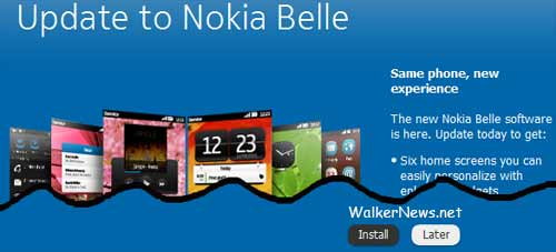Nokia Belle update available via Nokia Suite for Symbian Anna-based smartphone.