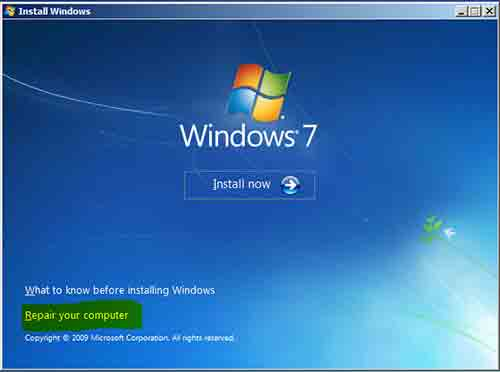 Access to Windows Recovery from Windows installation disc