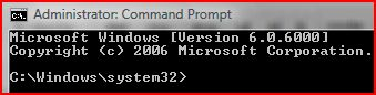 How to tell if a Vista Command Prompt is running with elevated privilege? Notice that the Administrator keyword will appears in the Windows Vista Command Prompt caption bar to indicate it is running as an administrator process or with elevated privilege.