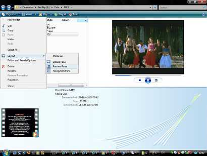 The new Windows Vista Windows Explorer allows users to easily customize its visual appearance - the search pane that provide Vista renowned search capability, the navigation pane to navigate through the Windows Vista file system hierarchy, the preview pane to give a rather high resolution playback on supported video file, music file, pictures, text file, web pages, etc.