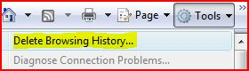 How to one-click delete or clear all IE7 browsing history?