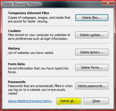 IE7 one-click button to manually delete or clear all IE browsing history, which includes temporarily Internet files, cookies, history, form data, passwords.