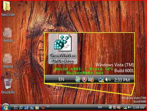 Windows Registry used to automatically print Vista version or build number on Desktop.