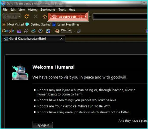 The hidden Transformer Easter egg in Firefox 3 welcome human to this lovely web browser.