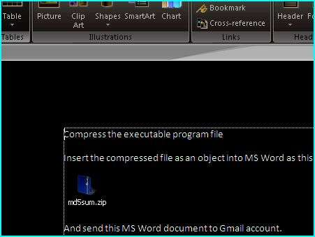 Embed compressed exe files into Microsoft Word to bypass email server attachment filtering system