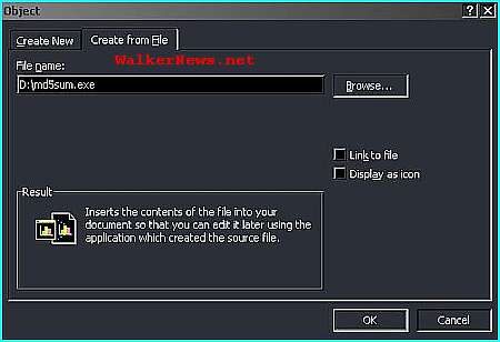 Use Microsoft Word embedded object feature to insert a compressed executable file.