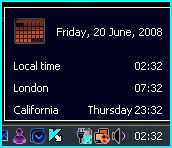 Windows Vista display multiple clocks in long date time format for different time-zone.