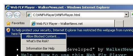 IE 8 Security restrict web page from running scripts or ActiveX controls.