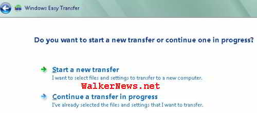 To start a new Windows Easy Transfer session or continue a transfer in progress?