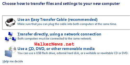 How do you want Windows Easy Transfer to migrate the user data and application settings?