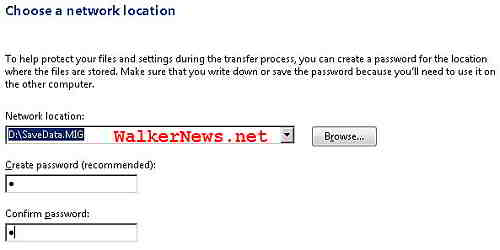 Tell Windows Easy Transfer where to save the migration store file and optionally a password to protect the MIG file.
