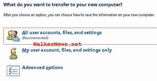 Instruct Windows Easy Transfer to export or backup all user data and settings or customize the item selection.