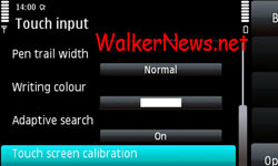 In the touch input screen, tap the touch screen calibration option.